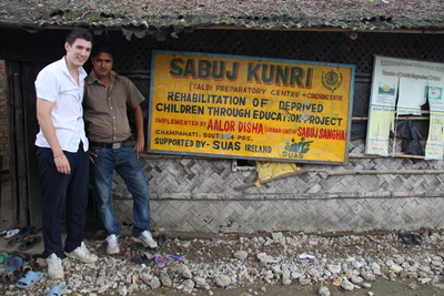 Simon and Asis outside Taldi school, Kolkata