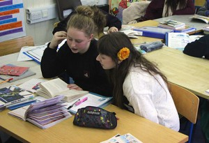 Cathy mentoring in the Claddagh School literacy project