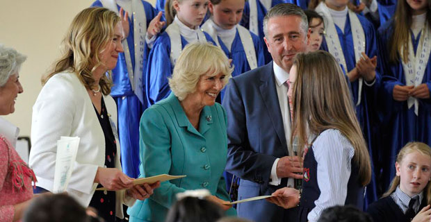 HRH Duchess of Cornwall presenting a certificate at Claddagh NS, Galway. Photo: Clodagh Kilbride
