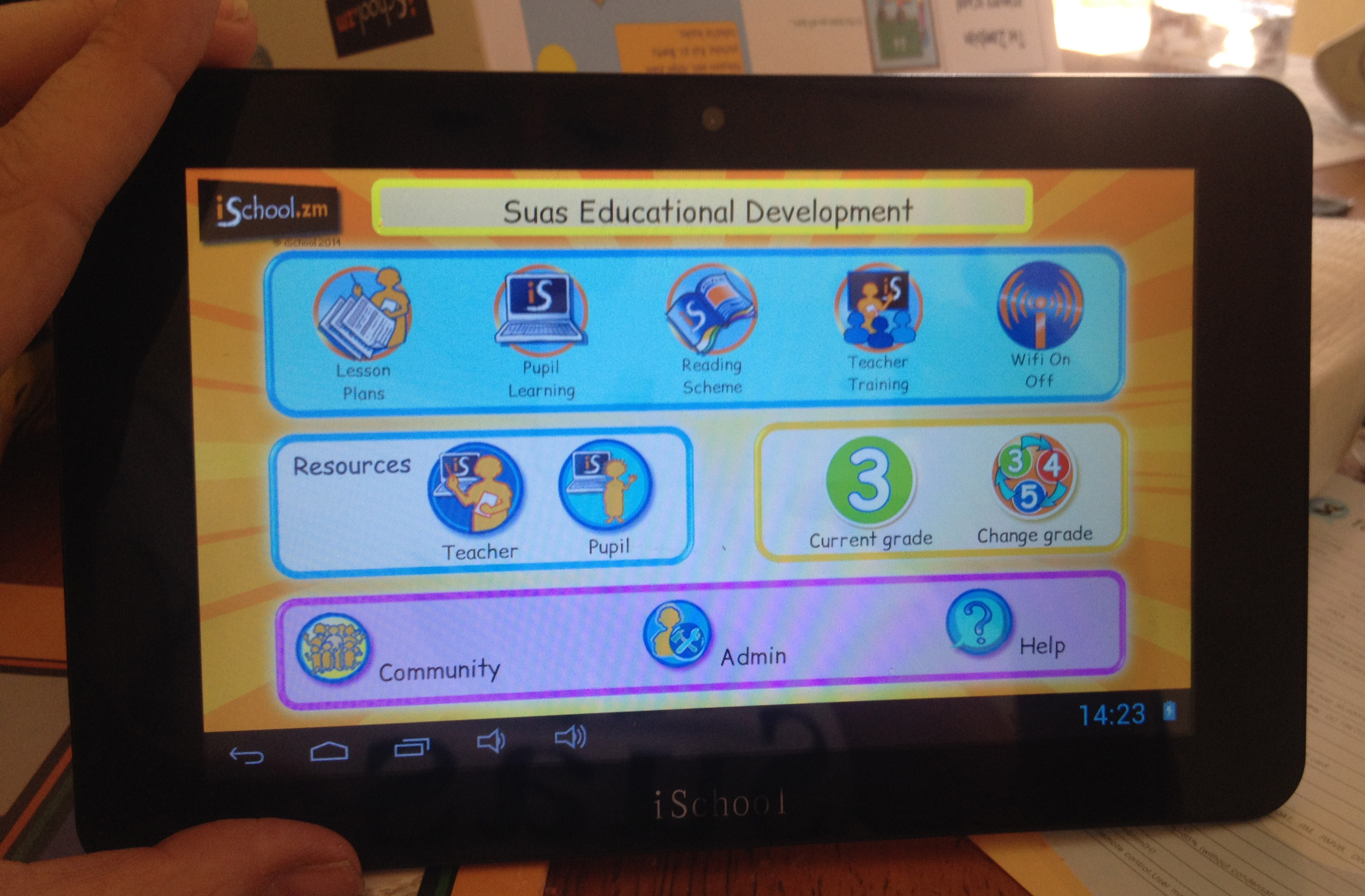 Interface of student learning tablet